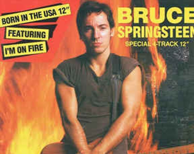 """Bruce Springsteen, 12"""" Vinyl EP, British Import! Authentic Vintage 85! Springsteen, """"I'm On Fire"""", """"Born In The USA"""" Remix! 4 Track EP!"""