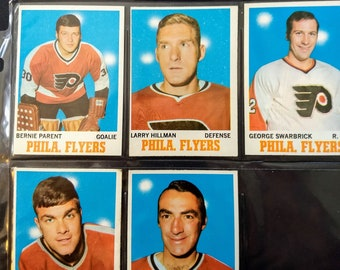 Philadelphia Flyers Topps Hockey Cards! Authentic Vintage 1970-1! Flyers Topps NHL Trading Cards ~ Bernie Parent/ Larry Hillman + 3 More!