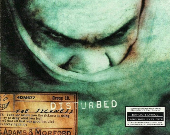 """Disturbed CD, Canadian Import! Authentic Vintage 2000! Disturbed """"The Sickness"""" CD, 1st Album From Chicago, Illinois Metal Rockers!Near Mint"""