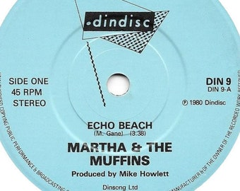 "Martha & The Muffins Vinyl 7"" UK Import! Authentic Vintage 1980! Martha and The Muffins ~ Echo Beach/Teddy The Dink Dindisc DIN 9 Near Mint"