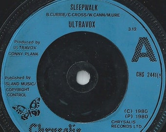 "Ultravox 7"" Vinyl UK Import! Authentic Vintage 1980!  Ultravox ~ Sleepwalk / Waiting Chrysalis CHS 2441! NM Vinyl / Blue Injection Labels!"