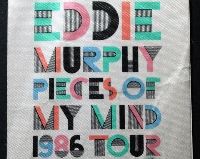 "Eddie Murphy, Satin Backstage Pass, All Access Crew Pass! Authentic Vintage 1986! Eddie Murphy ""Pieces Of My Mind Tour""!"