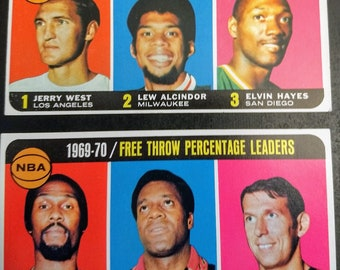 Topps Basketball Cards, Subset League Leaders! Jerry West, Alcindor!Authentic Vintage 1970-71!Topps Subset Cards, Scoring/Free Throw Leaders