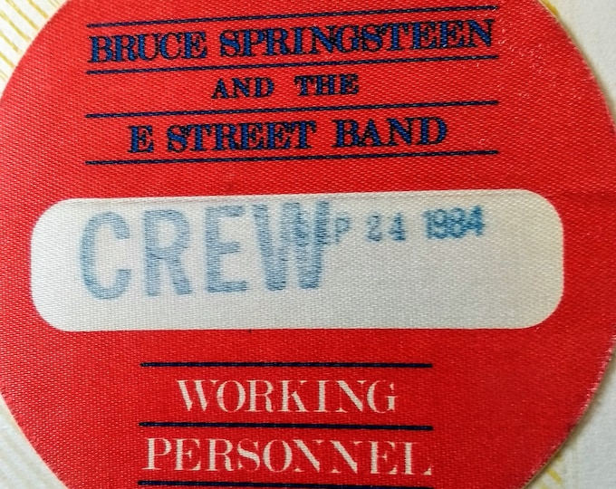 """Bruce Springsteen, Satin Backstage Pass RARE! Authentic Vintage '84! Springsteen,""""Born In The USA"""" Tour Satin Backstage Pass! RARE Original!"""