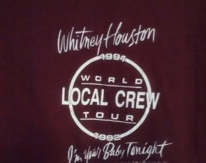 Whitney Houston Tour T Shirt! 1991 Authentic Vintage Local Crew T-Shirt! Whitney Houston ~ I'm Your Baby Tonight World Tour Size XL