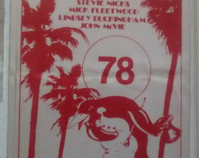 "Fleetwood Mac, Satin Backstage Pass VERY RARE! Authentic Vintage 1978! Fleetwood Mac, Legendary Original ""Rumours Tour""! Stevie Nicks! Rare!"