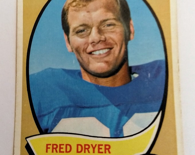 "Fred Dryer Rookie, Topps Football Card! Authentic Vintage 1970! Fred Dryer, Rookie Football Card! NY Giants/LA Rams, Actor ""Hunter""! Rookie!"
