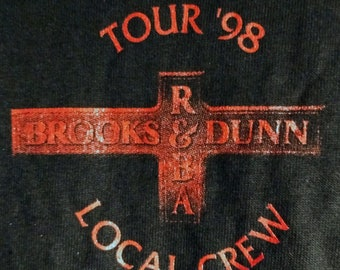 """Reba ~  Brooks and Dunn T Shirt Concert Tech Crew! Authentic Vintage 1998! Brooks & Dunn Reba McEntire """"Three For The Road Tour"""" Never Worn!"""