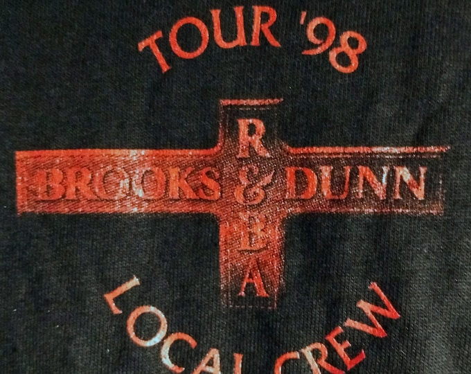 "Reba ~  Brooks and Dunn T Shirt Concert Tech Crew! Authentic Vintage 1998! Brooks & Dunn Reba McEntire ""Three For The Road Tour"" Never Worn!"