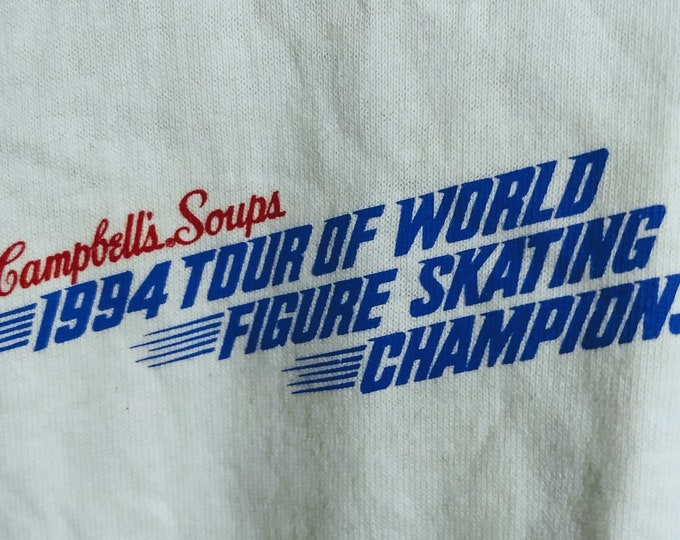 Figure Skating World Tour Of Champions Campbell's Soup! Authentic Vintage 1994! Figure Skating Shirt RARE! Kerrigan, Boitano! Never Worn!!