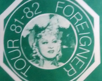 Foreigner Satin Backstage Pass Mae West Image! Authentic Vintage 1981! Foreigner - 4 Tour Mae West Image EX Condition