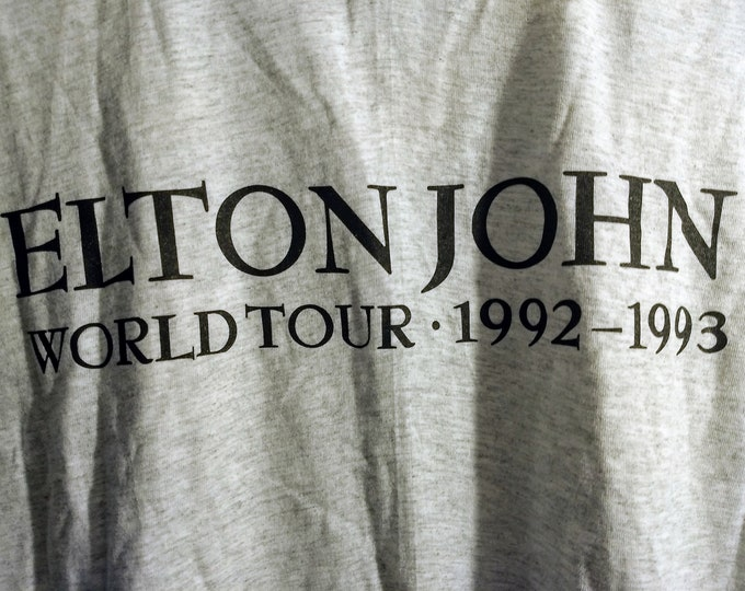 "Elton John Concert T Shirt Itinerary On Back!Authentic Vintage 1992-93! Elton John ""The One Tour""Hard Rock Cafe Sponsor US Leg April/May'93"