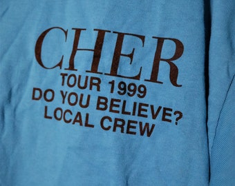 Cher Concert T Shirt Crew! Authentic Vintage 1999! Cher~Do You Believe Tour? 1999 Crew T Shirt! Bright Blue**T! Never Worn Like New! Size XL