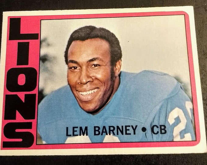Lem Barney, Topps Football Card! Authentic Vintage 1972! Lem Barney, Detroit Lions, Corner Back, Fooball Hall Of Fame! Topps Card #42!