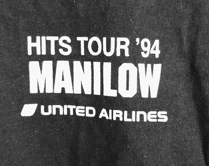 "Barry Manilow Concert Tour T Shirt! Authentic Vintage 1994! Manilow ""The Greatest Hits...And Them Some World Tour"" HITMAN T Shirt! Like New!"