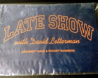 David Letterman Late Show Grabber Hand & Pocket Warmer! Authentic Vintage 90's! David Letterman Hand Warmer! Unopened/Unused! In Line Swag!