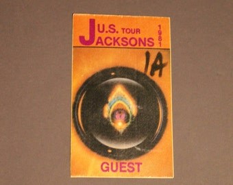 Rare!Jacksons Satin Guest Pass! Authentic Vintage 1981! Jacksons ~ Triumph Tour: 8/19/1981 Madison Square Gardens NYC Rare Intact Pass!