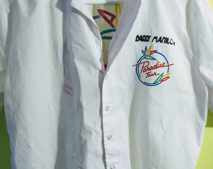 Barry Manilow Shirt Button Collared RARE! Authentic Vintage 84! Barry Manilow ~ Paradise Cafe Concert Button Shirt Oct 31,'84 Radio City NYC