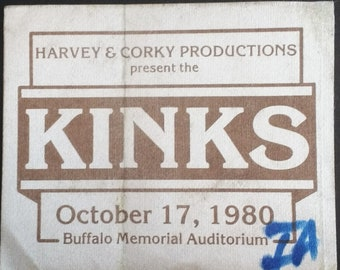 The Kinks Satin Backstage Pass! Authentic Vintage 1980! The Kinks ~ One For The Road Tour Ray Davies/Dave Davies Intact Original Satin Pass!