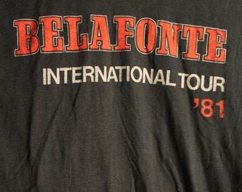 Harry Belafonte Concert T Shirt! 1981 Authentic Vintage!! Harry Belafonte ~  International Tour Hard To Find Belafonte T! Size Large 2029e13a3