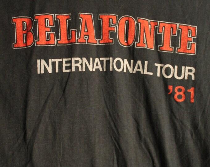 Harry Belafonte Concert T Shirt RARE! 1981 Authentic Vintage!! Harry Belafonte ~ International Tour Hard To Find Belafonte T!Like New! Large