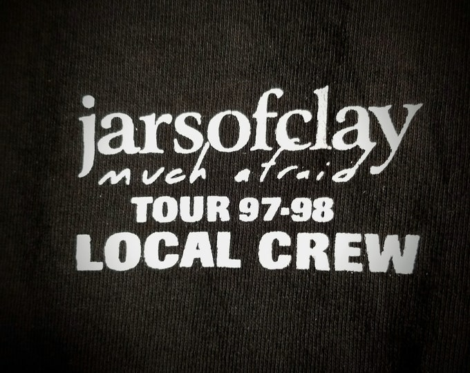 """Jars Of Clay, Band T Shirt, RARE Tech Crew Shirt! Authentic Vintage '97-98! Jars Of Clay """"Much Afraid"""" Tour T Shirt! Like New! Never Worn!"""