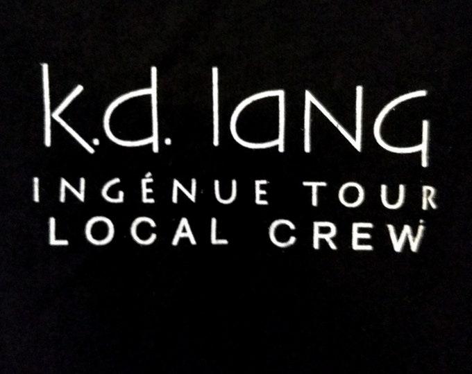 """k.d. lang, T Shirt, Tech Crew Shirt! Authentic Vintage 1992! k.d. lang. """"Ingenue World Tour"""" Rare Tech Crew Concert Tour T Shirt! Like New!"""