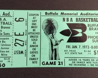 Buffalo Braves Complete Ticket from  2nd Season! Authentic Vintage 1972! Buffalo Braves /Phoenix Suns! Buffalo Memorial Auditorium Near Mint