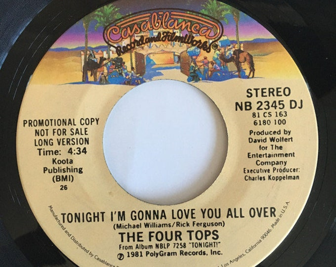 """Four Tops, Vinyl Record 7"""", Rare Promo! Authentic Vintage 1981!Four Tops """"Tonight I'm Gonna Love You All"""",Mowtown, Rock N Roll Hall Of Fame"""