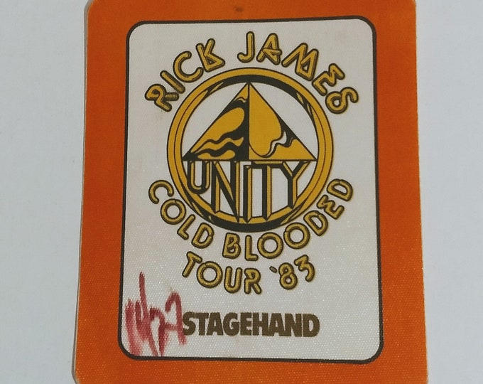 Rick James Backstage Pass SUPER RARE! Authentic Vintage '83!Rick James Cold Blooded Tour '83 In Support Of Cold Blooded Album! Intact/Unused