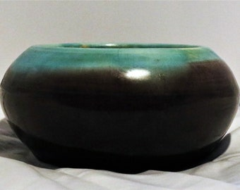 Pisgah Forest Art Pottery Squat Vase Walter Stephen! Authentic Vintage '49! Pisgah Forest Pottery Bowl! Turquoise And Wine Blended Glaze!