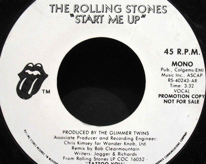 """The Rolling Stones 7"""" PROMO! Authentic Vintage 1981! Rolling Stones Vinyl Promo! """"Start Me Up"""" Side A Mono/B Side Stereo Jaggers/Richards NM"""