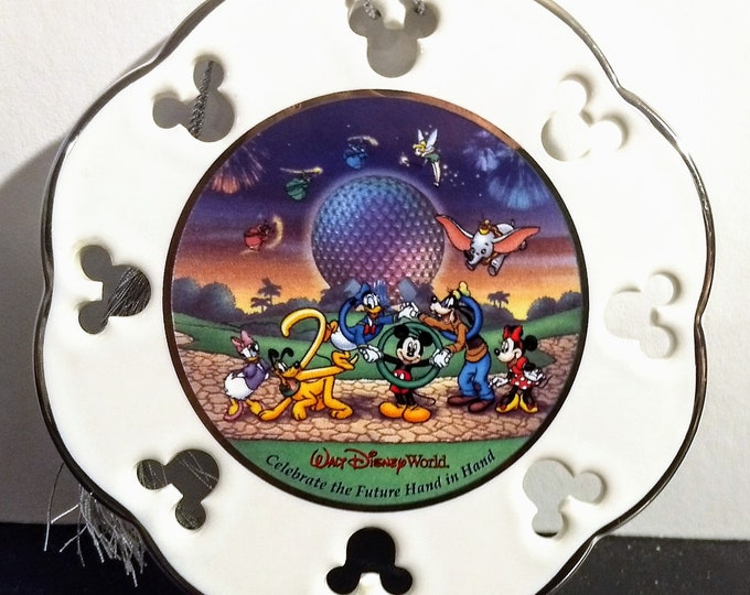 "Disney, Ornament, Walt Disney World! Authentic Vintage 2000! Disney,""Celebrate The Future Hand In Hand""! Ceramic Ornament, Mickey & Friends!"