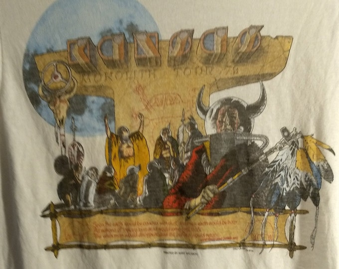 Kansas Band Ringer T Shirt! SALE! Authentic Vintage 79! Kansas ~Monolith Tour Classic Rock T! No Issues! Like New! 40 Yr Old Shirt!Size SM!