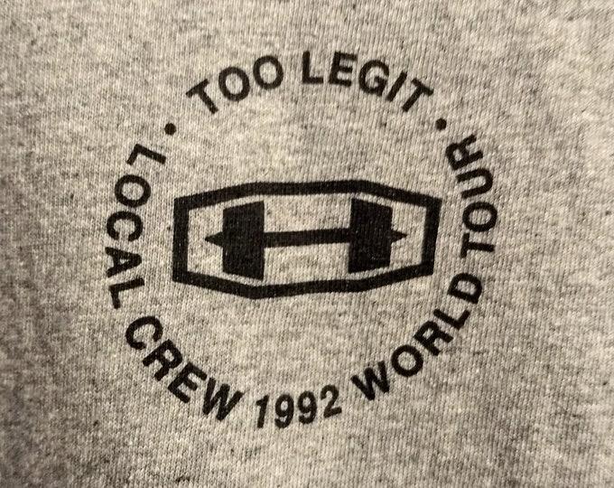 """MC Hammer Concert T, Tech Crew T Shirt! Authentic Vintage 1992! MC Hammer """"Too Legit To Quit"""" Tour 1992! Classic Hip Hop! Tech Crew T Shirt!"""