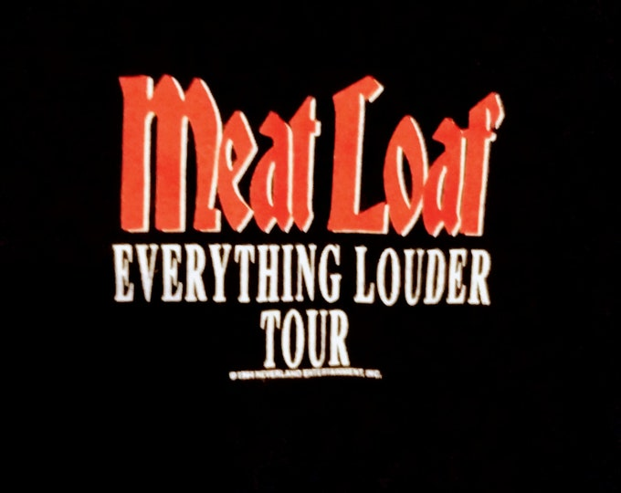 "Meat Loaf Concert Tour T Shirt! Authentic Vintage 1994! Meat Loaf "" Everything Louder Tour"" From Bat Out Of Hell 2! Licensed Neverland T!"