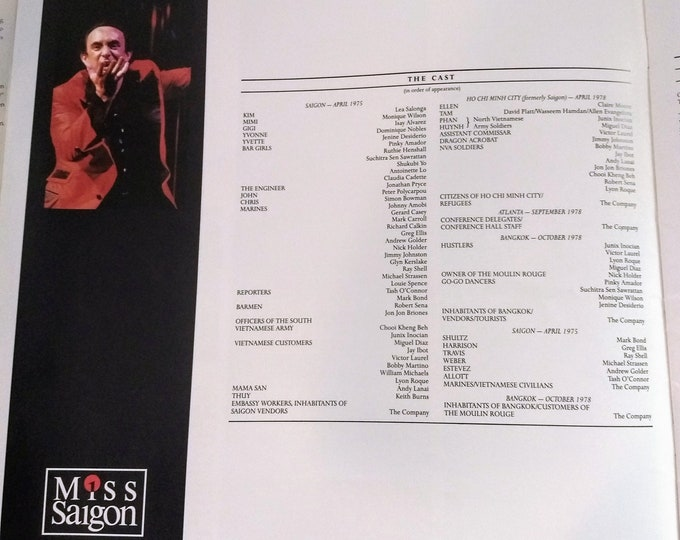 Miss Saigon, Programme, Theatre Royal, London West End! Authentic Vintage 1990! Miss Saigon, London, Lea Salonga, Jonathan Pryce! Programme!
