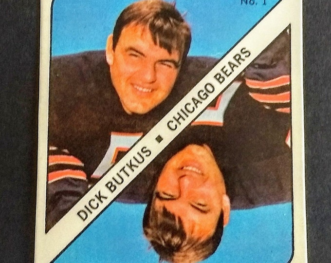 Dick Butkus ~ Topps Game Piece Trading Card! Authentic Vintage 1971! Dick Butkus ~ #1 Chicago Bears! Original Topps Card #1! EXC Condition