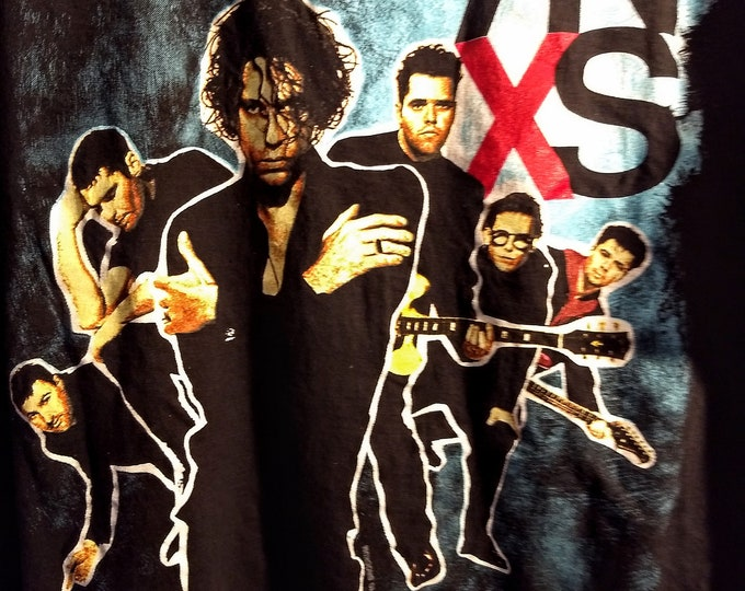 """INXS, Concert T Shirt! Authentic Vintage 1990! INXS """"North American Tour"""" T Shirt! 39 City Itinerary On Back! Like New! Never Worn! Band Tee"""