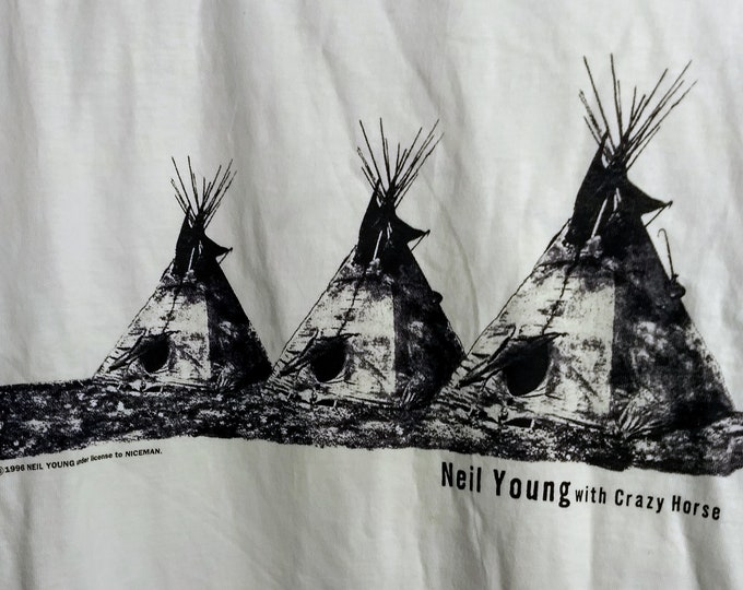 """Neil Young And Crazy Horse Band T Shirt! Authentic Vintage 1996! Neil Young/Crazy Horse """" Broken Arrow World Tour""""! Like New! Never Worn!"""