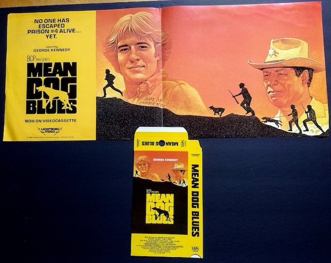 Mean Dog Blues, Poster & Promo Videotape Box Hanger, Vestron Video! Authentic Vintage 1985! Rare Horizontal One Sheet And Video Box! Unused!