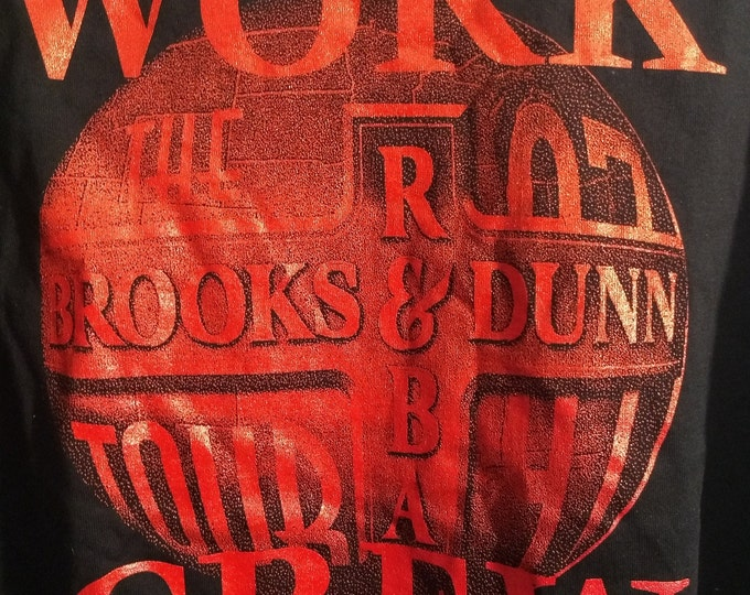 "Reba ~  Brooks and Dunn T Shirt Concert Tech Crew! Authentic Vintage 1997! Brooks & Dunn Reba McEntire ""Three For The Road Tour"" Never Worn!"