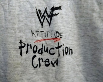 WWF Attitude Production TV Crew T Shirt! Authentic Vintage 1999! Stone Cold / Chyna / The Rock Era! Pre Game Launch! Like New! Never Worn XL