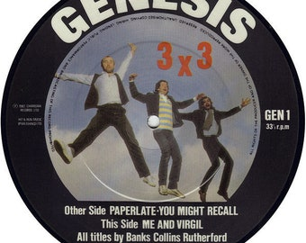 "Genesis, 7"" Vinyl Record, Picture Disc, UK Import EP! Authentic Vintage 1982! Genesis ""3 X 3""! Commercial Genesis Songs, ""Paperlate"" + 2! M!"