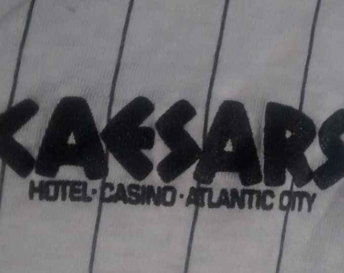 Caesars Baseball Style TShirt! Authentic Vintage 1985! Caesars ~ Atlantic City Baseball Style 3/4 Sleeve T Shirt Size Large[see description]