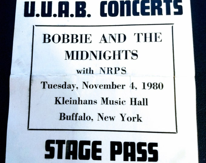 Bob Weir, Backstage Pass RARE! Bobby And The Midnights!Authentic Vintage 80! Bobby & The Midnights,NRPS! The Grateful Dead! 11/4/1980!Unused