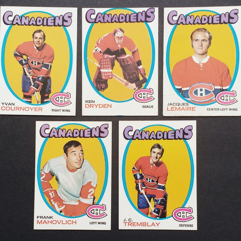Montreal Canadiens Ken Dryden Rookietopps Cards Authentic Vintage 1971 Habs Mahovlich Dryden 3 More