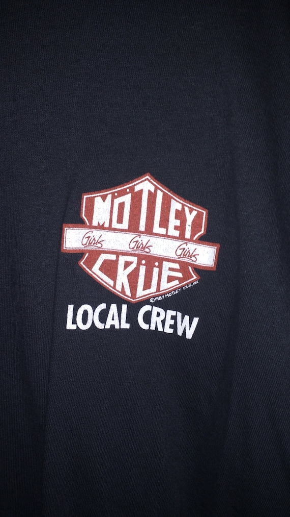 Motley Crue Concert CREW Shirt Licensed LikeNew! Authentic Vintage 1987! Motley Crue ~ Girls, Girls, Girls Like New! Deep Black! Never Worn!