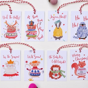 Present Favor Labels Watercolour Hedgehog Christmas Gift Tags