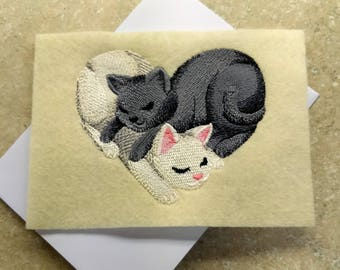 Any Occasion Cards - Snuggling Cats Heart